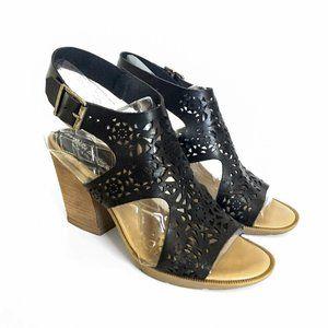 Barbara Barbieri Leather Black Cutout Chunky Heels